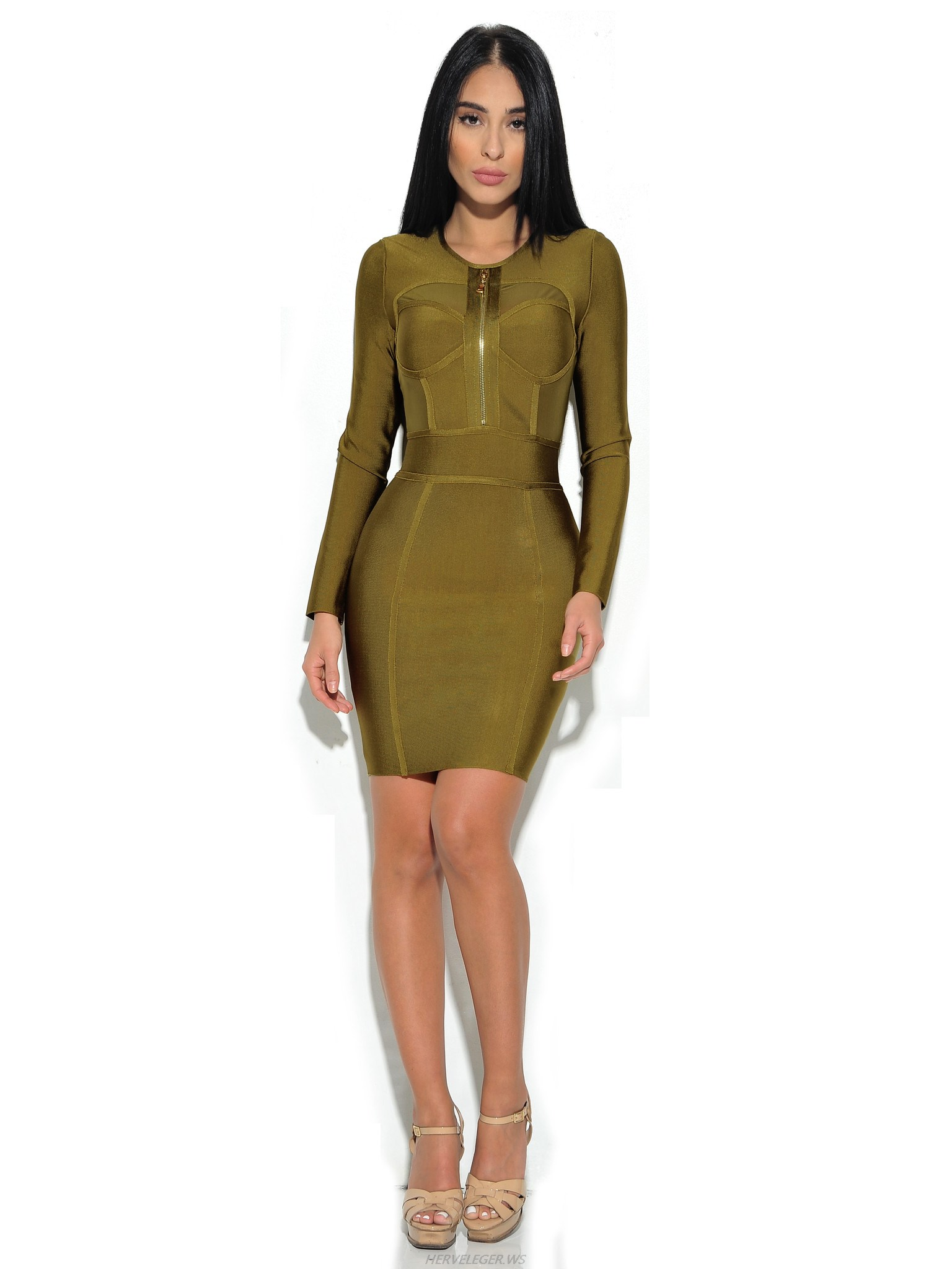Herve Leger Olive Green Sheer Cut Out Long Sleeve Dress