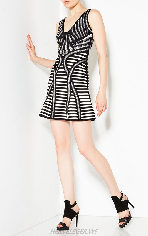 Herve Leger Black And White A Line Striped Dress