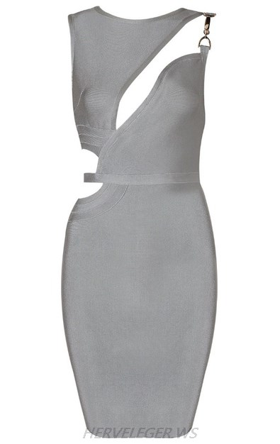 Herve Leger Grey Asymmetric Cut Out Dress