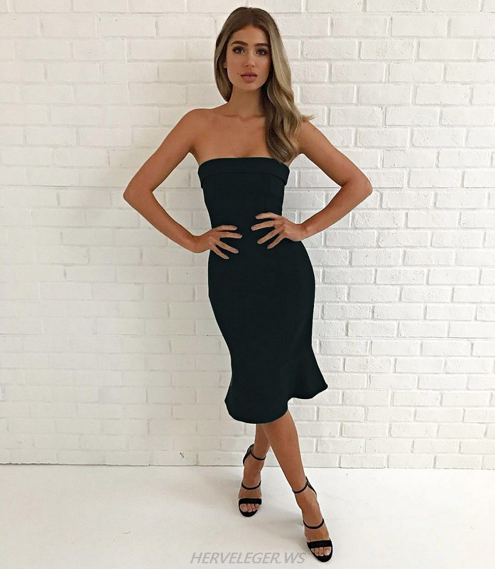 Herve Leger Black Bandeau Mermaid Strapless Dress