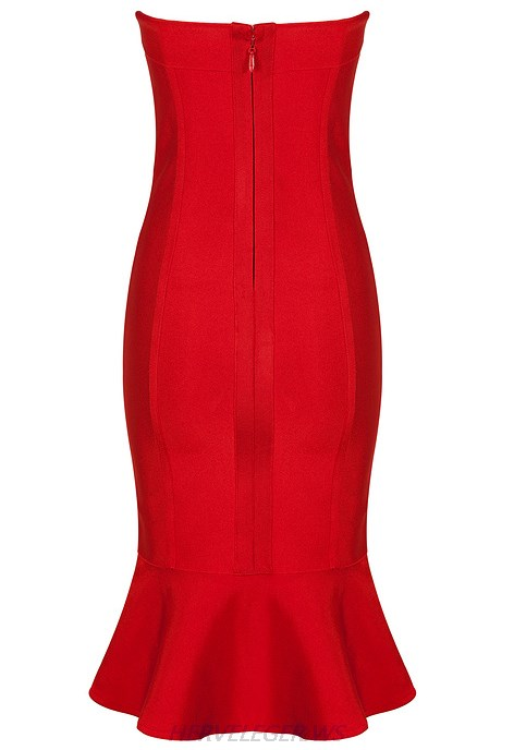 Herve Leger Red Bandeau Mermaid Strapless Dress