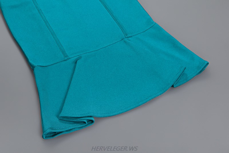 Herve Leger Turquoise Bandeau Mermaid Strapless Dress