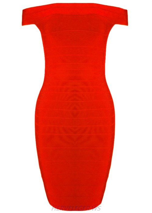 Herve Leger Red Bardot Side Cut Out Dress