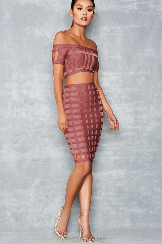 Herve Leger Dusty Pink Caged Bardot Two Piece Dress
