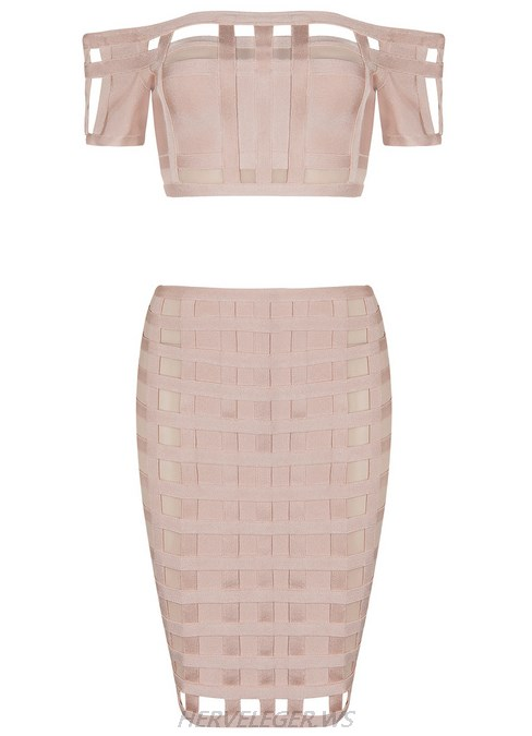Herve Leger Nude Caged Bardot Two Piece Strapless Dress