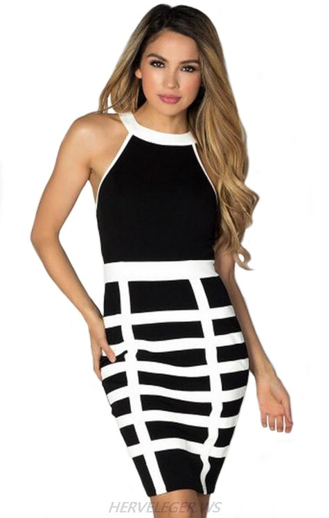 Herve Leger Black And White Contrast Dress