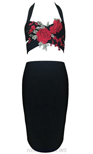Herve Leger Black Floral Crochet Two Piece Dress