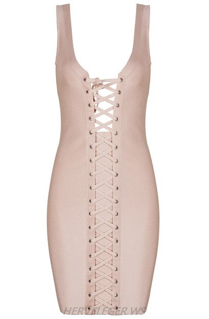 Herve Leger Nude Front Lace Up Dress