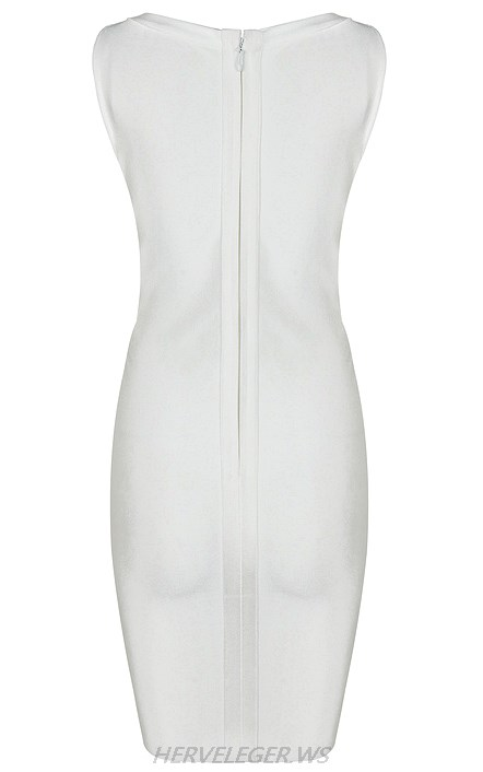 Herve Leger White Front Lace Up Dress