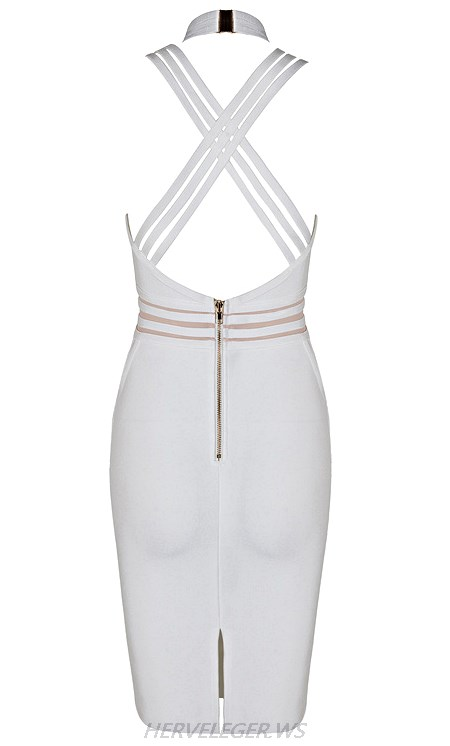 Herve Leger White V Neck Halter Strappy Mesh Dress