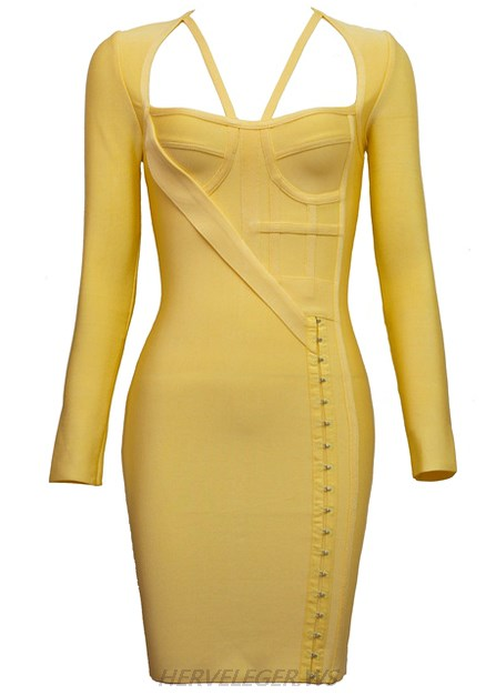 Herve Leger Yellow Long Sleeve Asymmetric Dress