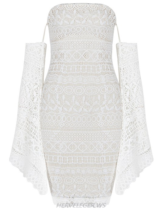 Herve Leger White Long Sleeve Bardot Crochet Strapless Dress