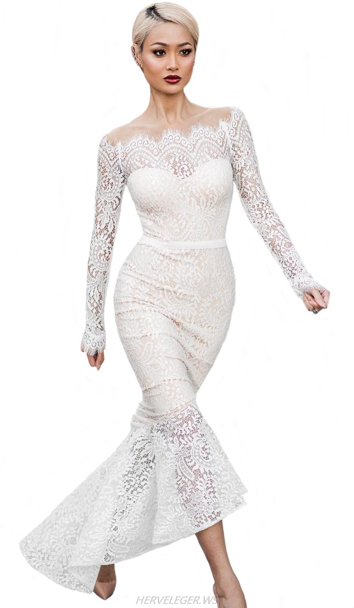 Herve Leger White Long Sleeve Bardot Lace Mermaid Stars Dress