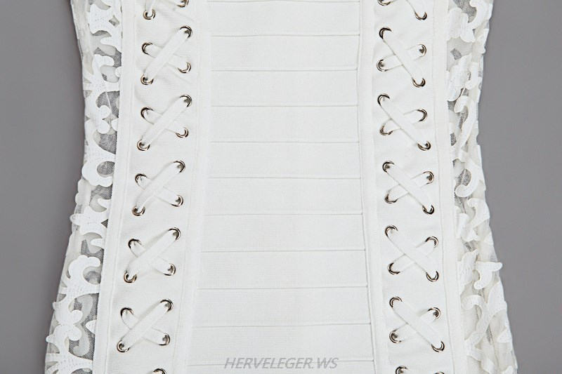 Herve Leger White Long Sleeve Lace Lace Up Dress