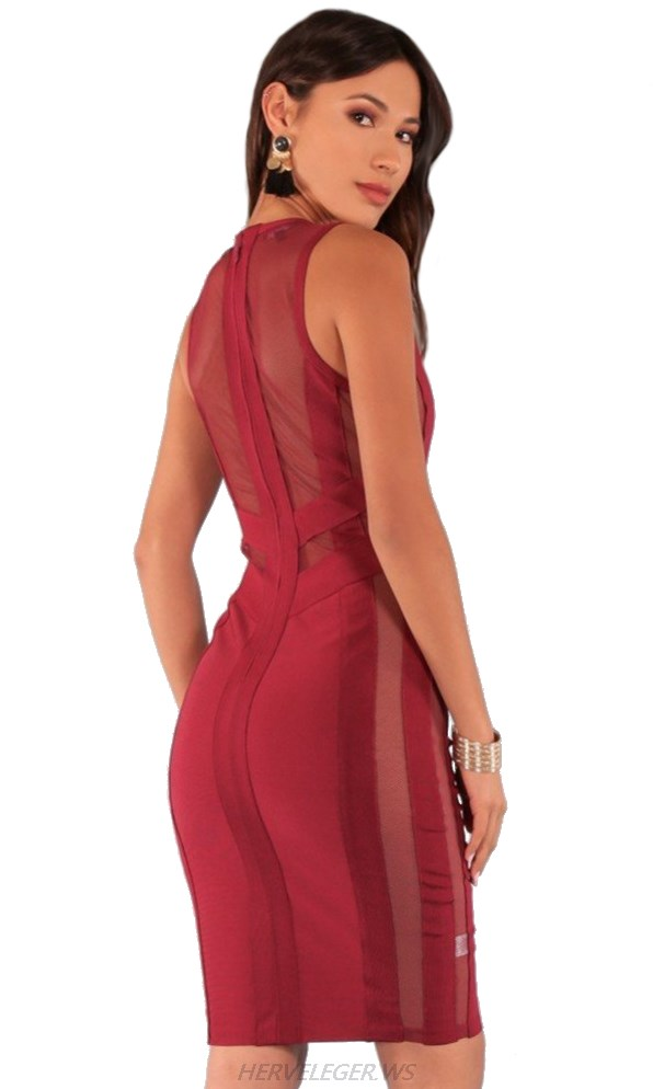 Herve Leger V Neck Burgundy Mesh Dress