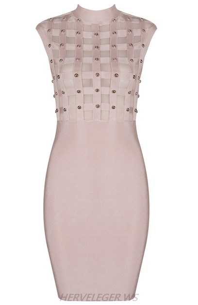 Herve Leger Nude Mesh Studded Dress