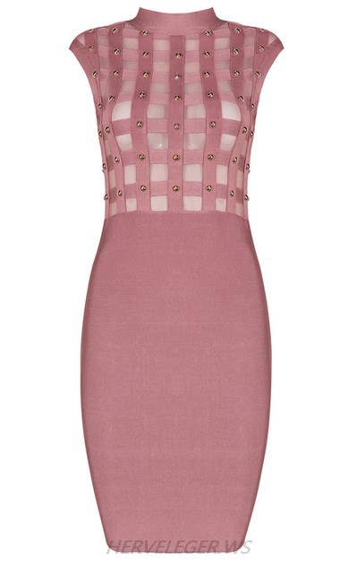 Herve Leger Pink Mesh Studded Dress