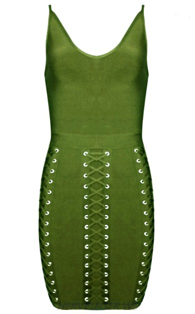 Herve Leger Green Multi Lace Up Detail Dress