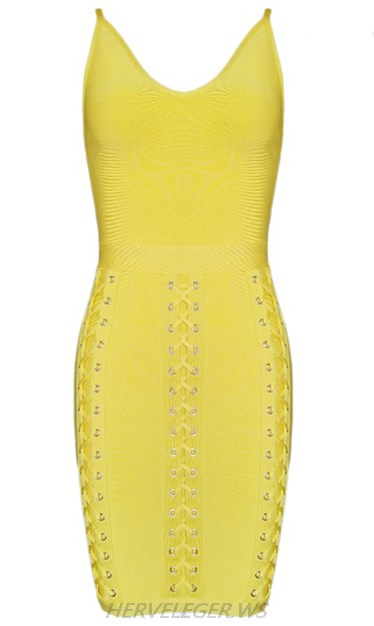 Herve Leger Yellow Multi Lace Up Detail Dress