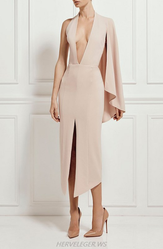 Herve Leger Pink One Sleeve Plunge Deep V Neck Slit Dress