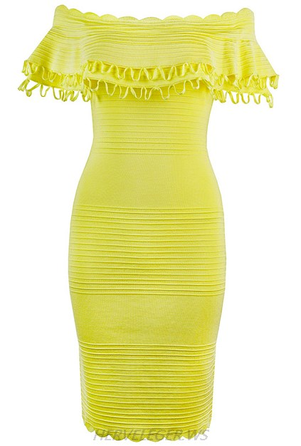 Herve Leger Yellow Ruffle Bardot Dress