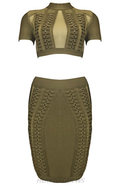 Herve Leger Green Short Sleeve Mesh Two Piece Dress