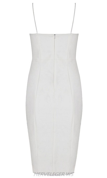 Herve Leger White One Shoulder Side Lace Up Asymmetric Stars Dress