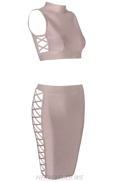 Herve Leger Nude Side Lace Up Two Piece Dress