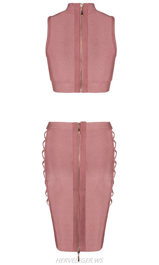 Herve Leger Pink Side Lace Up Two Piece Dress