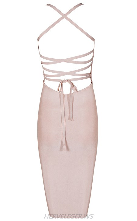 Herve Leger Pink Strappy Strapless Dress