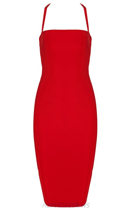 Herve Leger Red Strappy Strapless Dress
