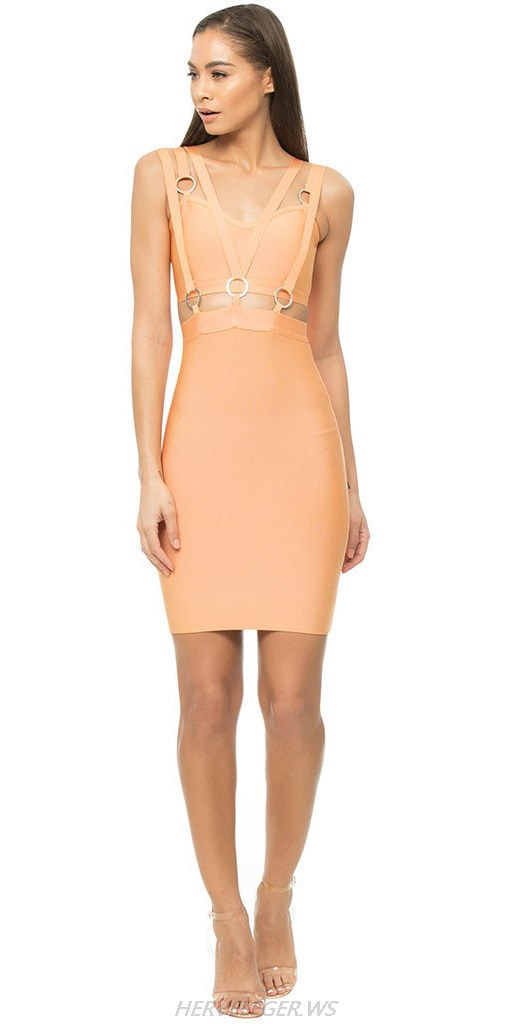 Herve Leger Coral Strappy Cut Out Dress