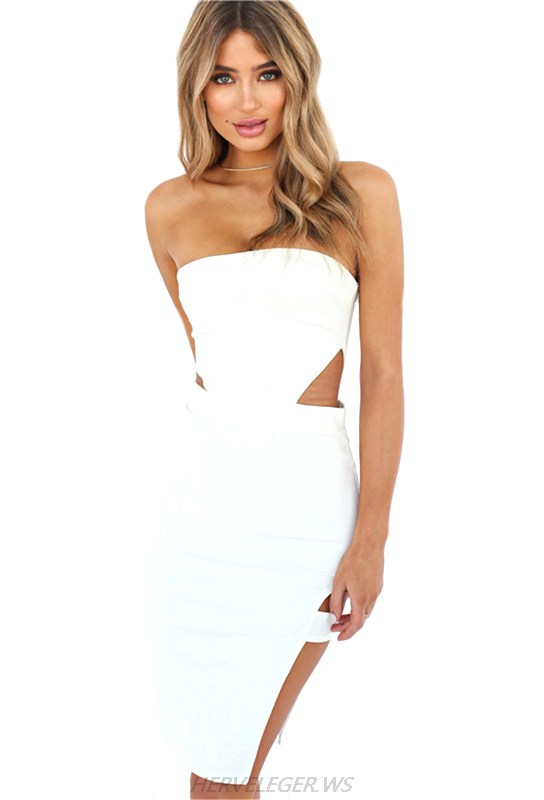 Herve Leger White Bandeau Cut Out Slit Strapless Dress