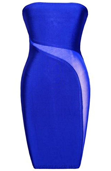 Herve Leger Blue Bandeau Mesh Strapless Dress
