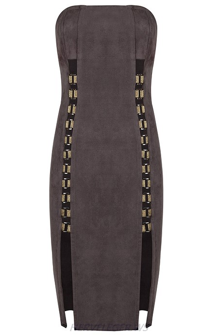 Herve Leger Grey Bandeau Slit Suede Strapless Dress