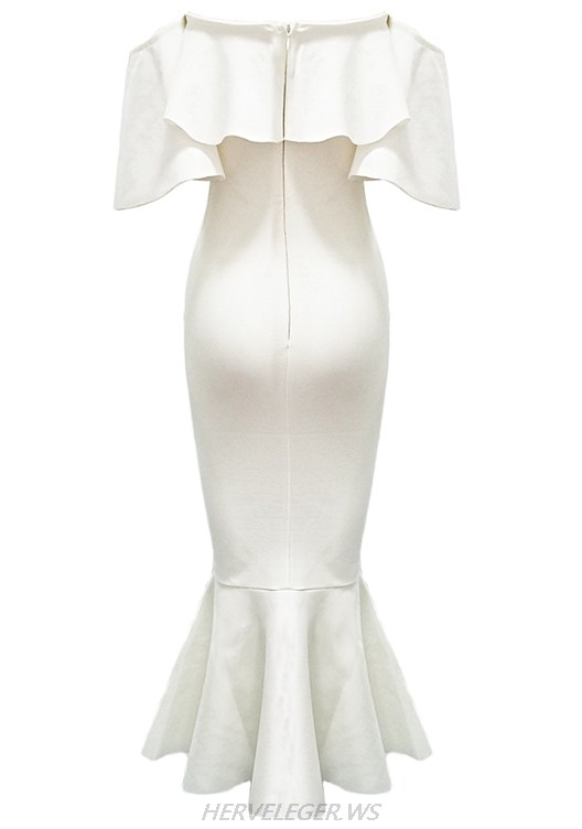 Herve Leger White Bardot Ruffle Fluted Strapless Dress