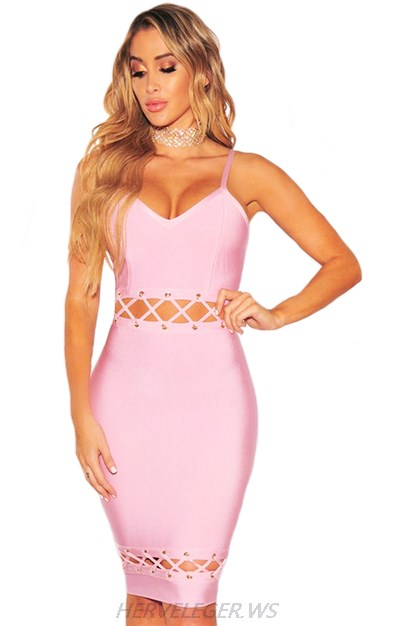 Herve Leger Pink Double Lace Up V Neck Dress