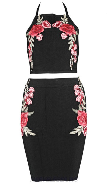 Herve Leger Black Floral Corchet Two Piece Dress