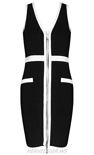 Herve Leger Black And White Front Zipper V Neck Dress