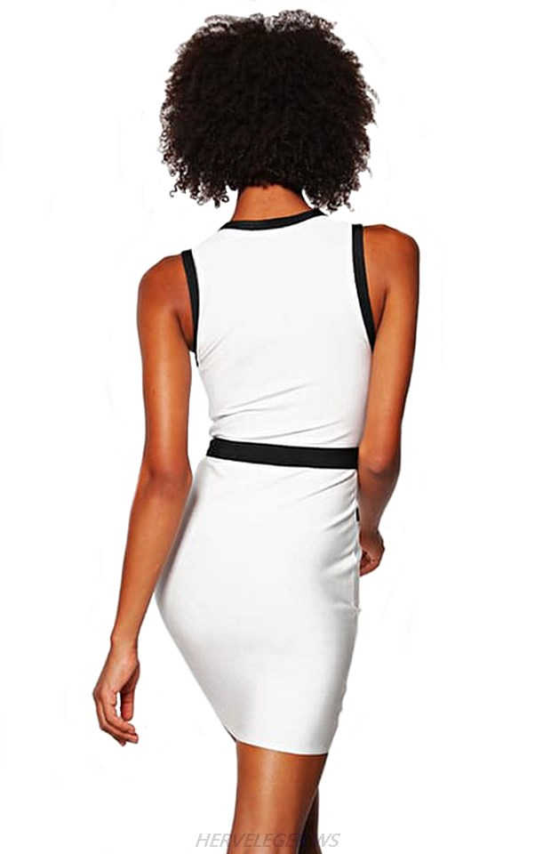 Herve Leger White And Black Front Zipper V Neck Dress