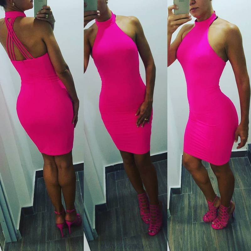 Herve Leger Pink Halter Strappy Dress