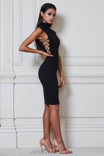 Herve Leger Black High Neck Side Lace Up Dress