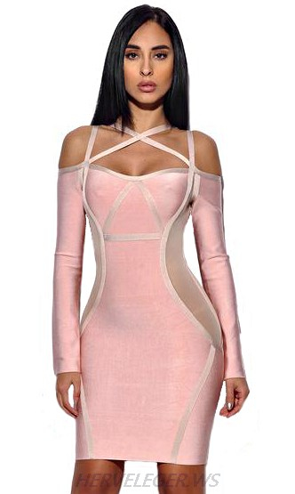 Herve Leger Pink Long Sleeve Bardot Criss Cross Dress