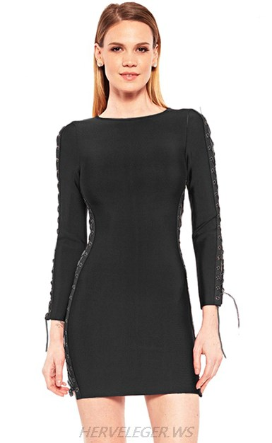 87be20f5a0f Herve Leger Black Long Sleeve Lace Up Dress