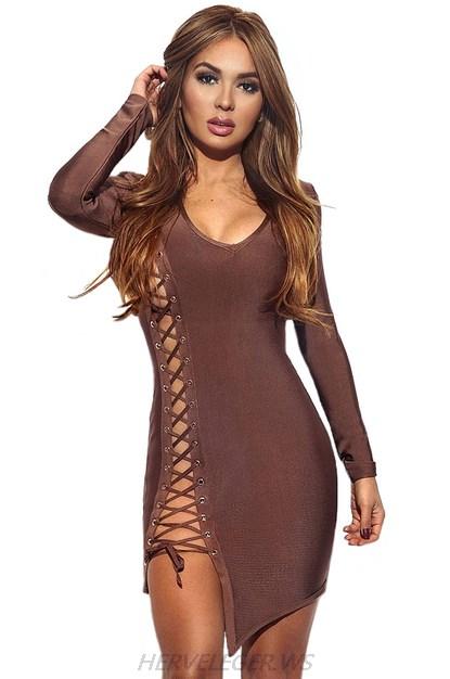 Herve Leger Brown Long Sleeve Lace Up Dress