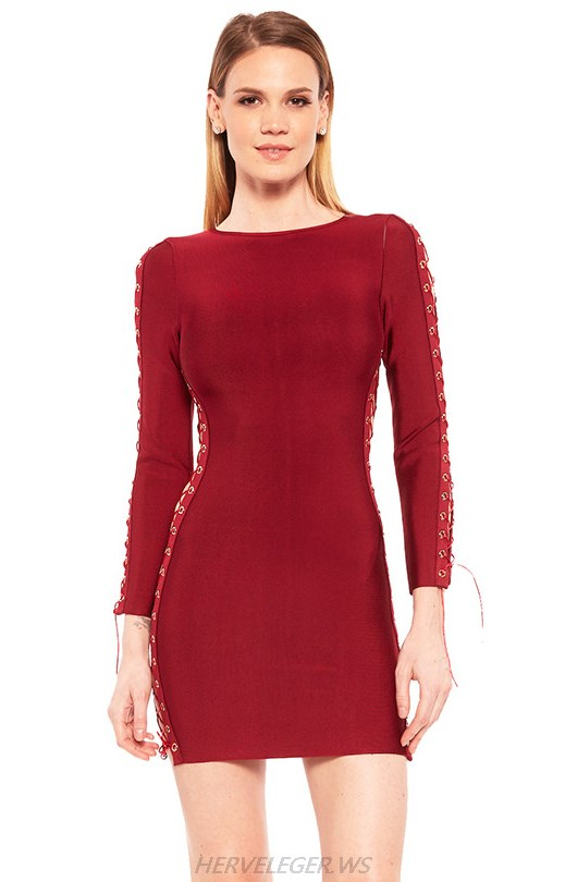 Herve Leger Red Long Sleeve Lace Up Dress
