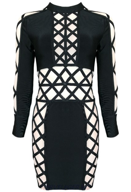 Herve Leger Black Long Sleeve Lace Up Mesh Dress