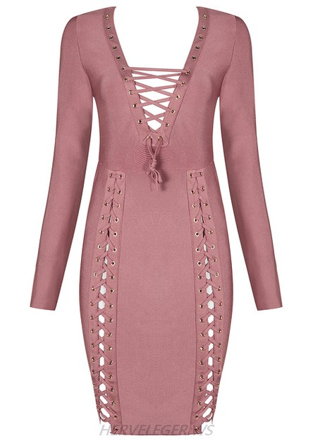 Herve Leger Pink Long Sleeve Multi Lace Up V Neck Dress