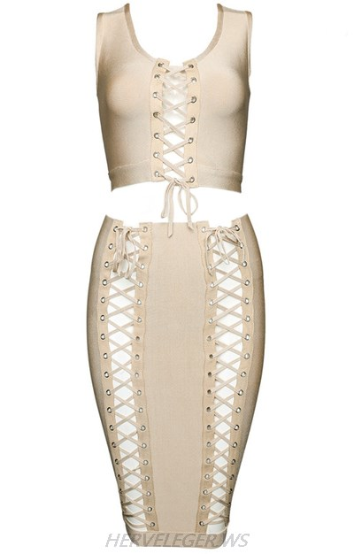 Herve Leger Nude Multi Lace Up Detail Two Piece Dress