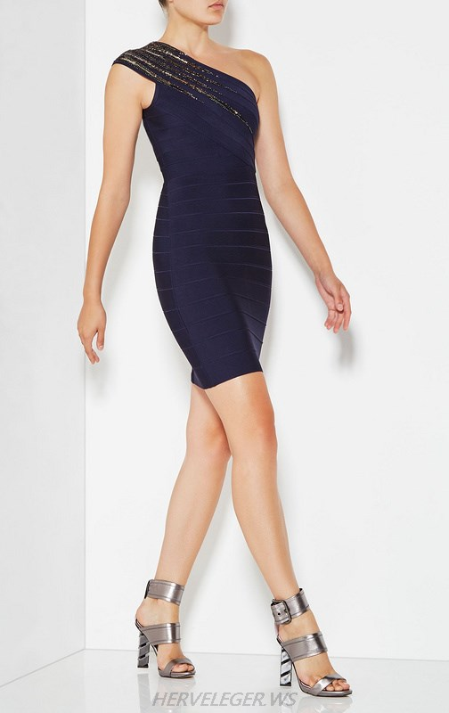 Herve Leger Navy Blue One Shoulder Dress